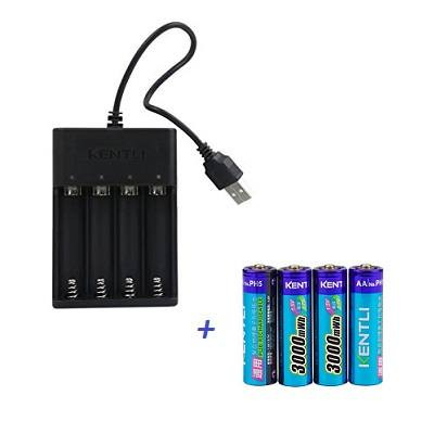Kentli-CHU4-USB-tolto-+-PH5-litium-akkumulator-AA-3000mWh-4db-os-kiszerelesben